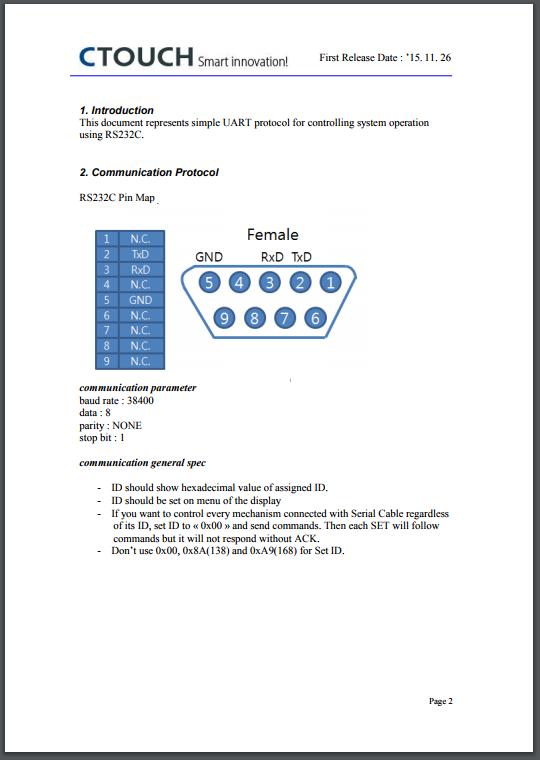 RS232 Protocol Leddura xts – CTOUCH Help Center