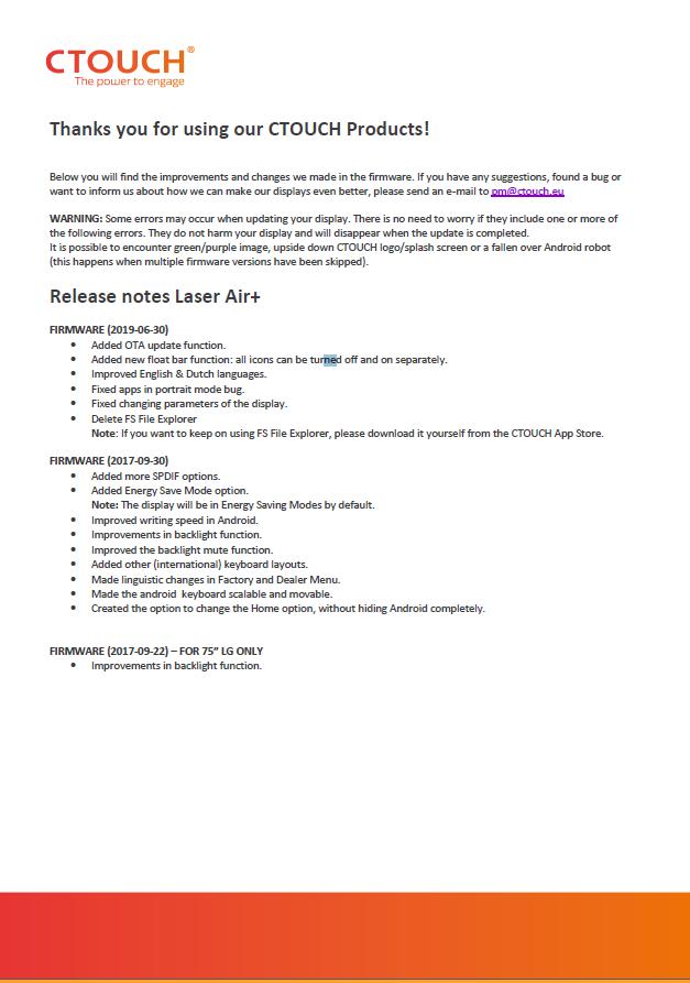 Firmware release Laser air+ – CTOUCH Help Center